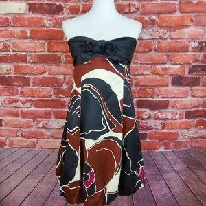 Strapless dress bubble hem silk blend Trina Turk